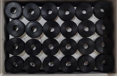 PRE WOUND BOBBIN 130m BLACK 144 per BOX
